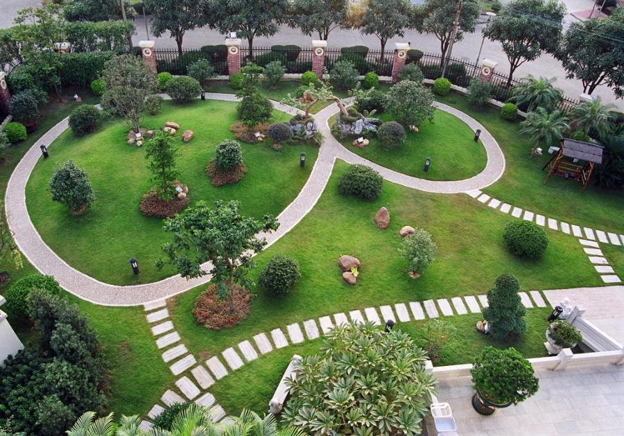 后花园地面铺设效果图,后花园效果图,联排别墅后花园效果图,
