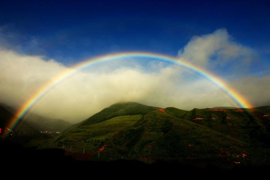 天堂天使彩虹欧式油画